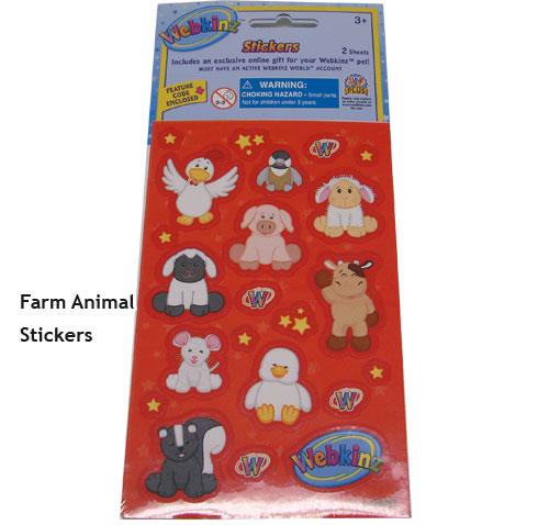 Webkinz Stickers-Farm Animals   In Stock, Webkinz Toys